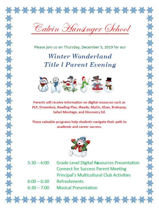 Winter Wonderland Title l Parent Evening